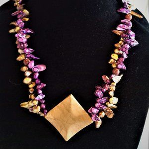 Purple & Bronze Shell Bead Necklace with Pendant